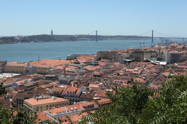 view on the tagus river and the bridge 25 abril with a blue sky and lisbon rooftops