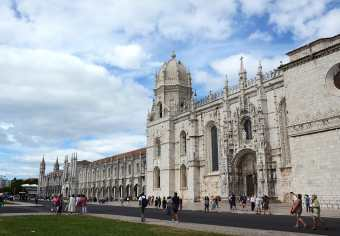 Monastery of Jeronimo in Belem Lisbon Portugal with cloudy blue sky