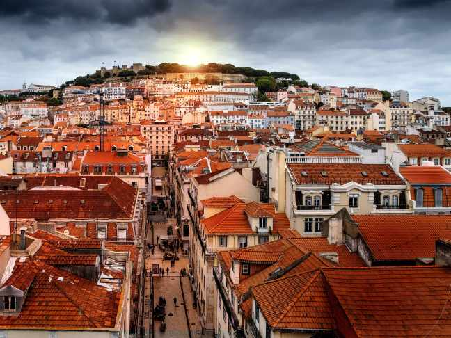 Lisbon view on St George's Castle and roof top