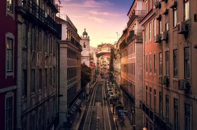 Lisbon by night witha nice sunset