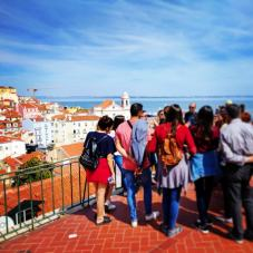 group of tourist and their guide during our food tours in Lisbon at Treasures of Lisboa